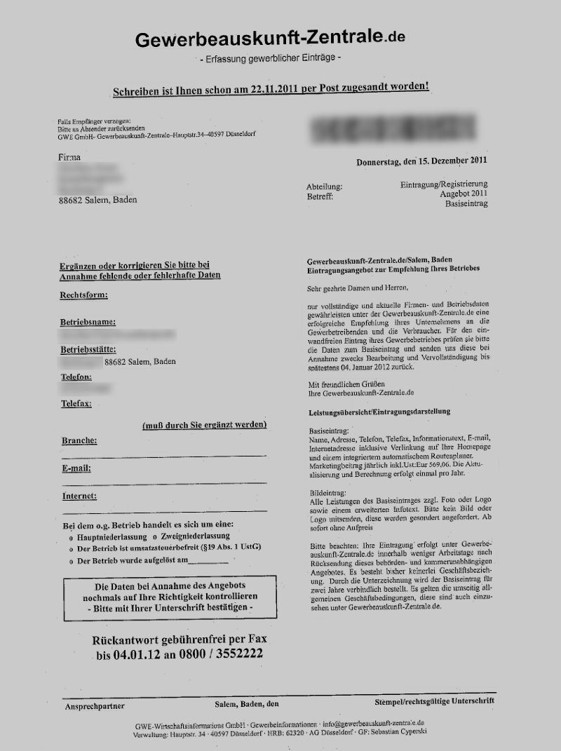 Gewerbeauskunft Zentrale Mahnung Inkasso Abwehr Durch Rechtsanwalt