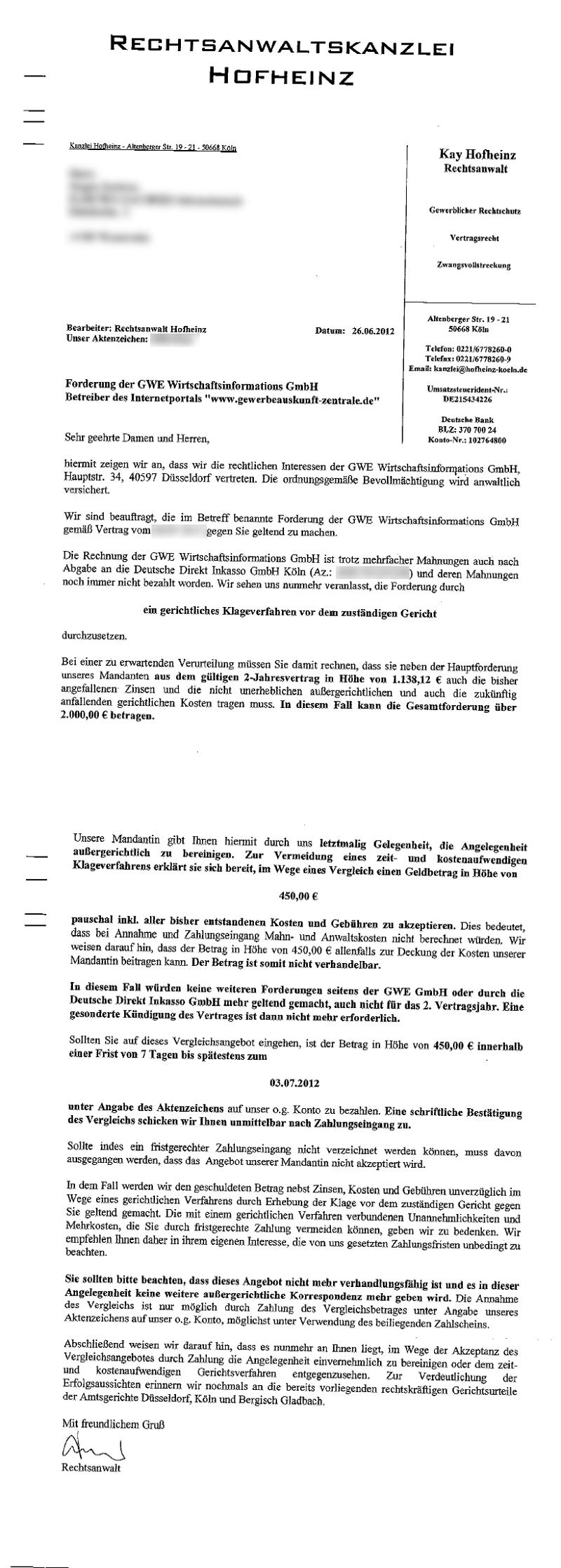 Rechtsanwalt Hofheinz Treibt Für Gewerbeauskunft Zentrale Ein