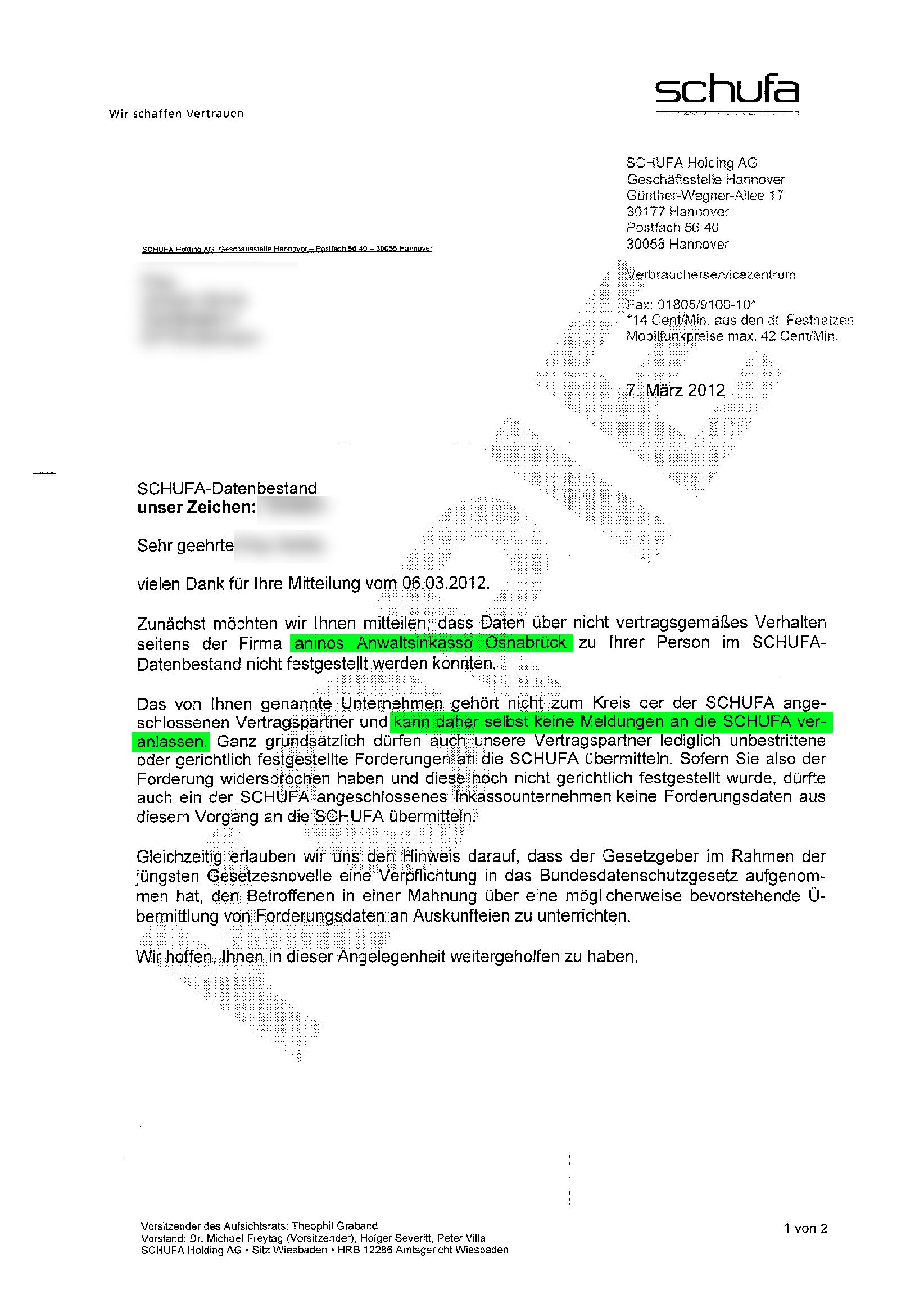 Aninos Anwaltsinkasso Ist Kein Schufa Mitglied